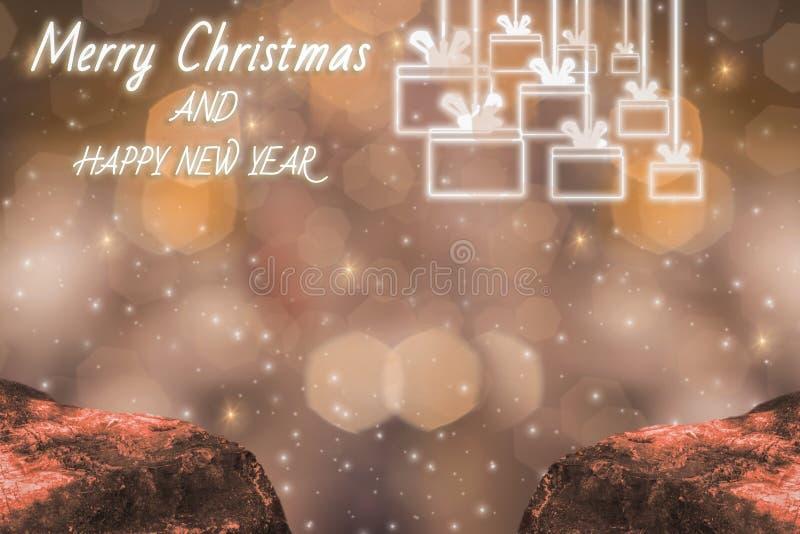 Thème d'éclat de Joyeux Noël et de bonne année de lumière, avec le bokeh d'or de scintillement et le fond éclatant, et icônes illustration libre de droits