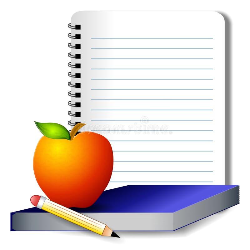 Thème d'école de crayon de livre d'Apple illustration de vecteur