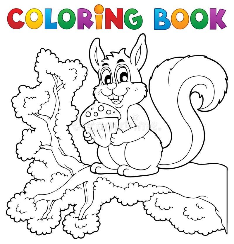 Thème 1 d'écureuil de livre de coloriage illustration de vecteur