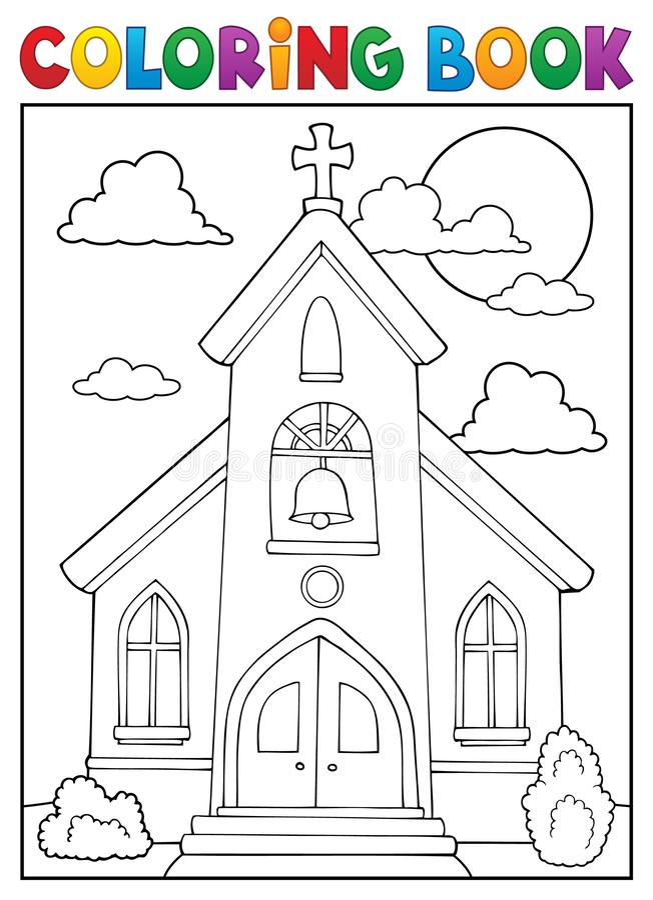 Thème 1 d'église de livre de coloriage illustration de vecteur