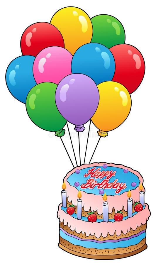 Thème d'anniversaire avec le gâteau 2 illustration stock