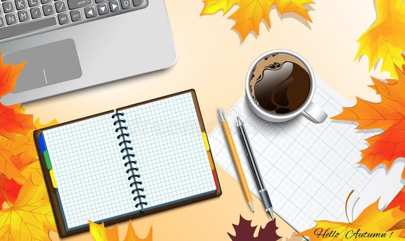 Thème d'automne sur la table illustration stock