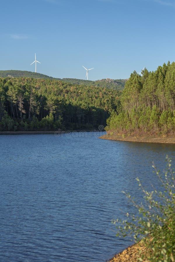 Thème d'Eco, paysage, horizon de turbines de vent photos libres de droits