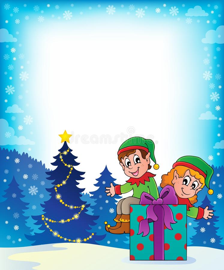 Thème 7 d'elfe de Noël illustration stock
