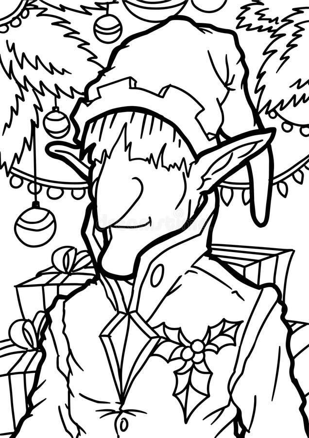 Th?me d'elfe de No?l de livre de coloriage illustration stock