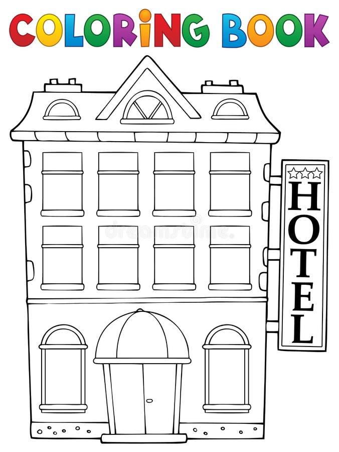 Thème 1 d'hôtel de livre de coloriage illustration libre de droits