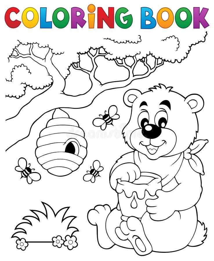 Thème 1 d'ours de livre de coloriage illustration libre de droits