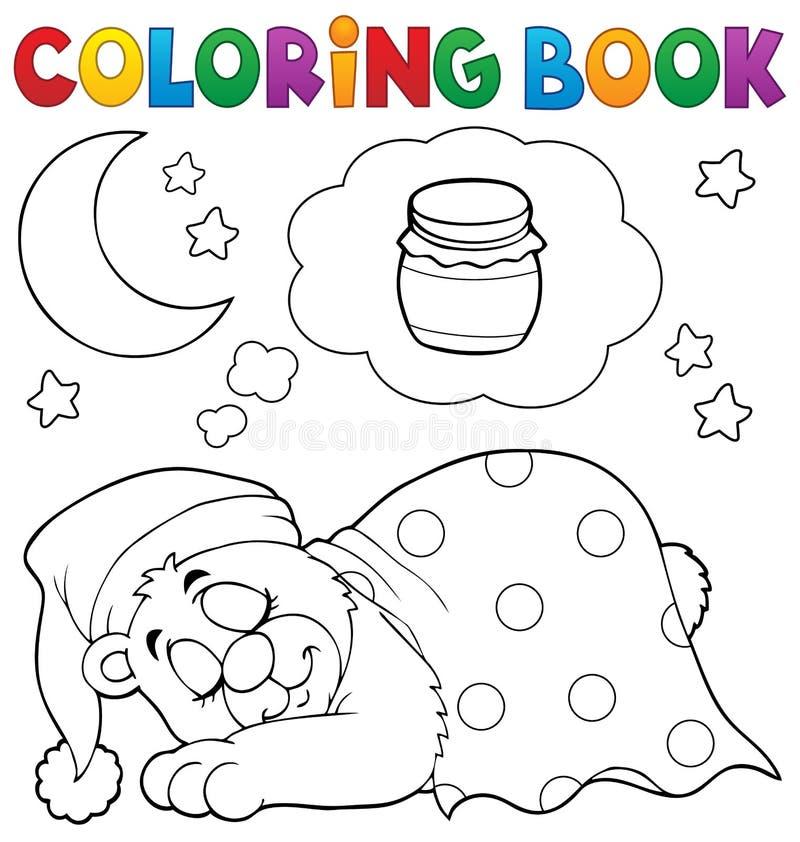 Thème 1 d'ours de sommeil de livre de coloriage illustration libre de droits