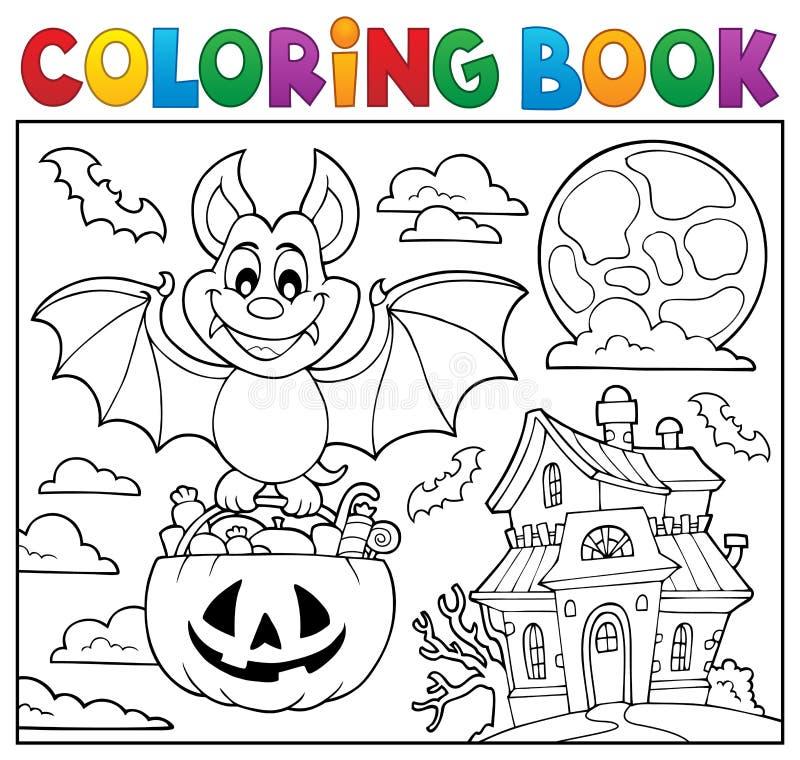 Thème 2 de batte de Halloween de livre de coloriage illustration libre de droits