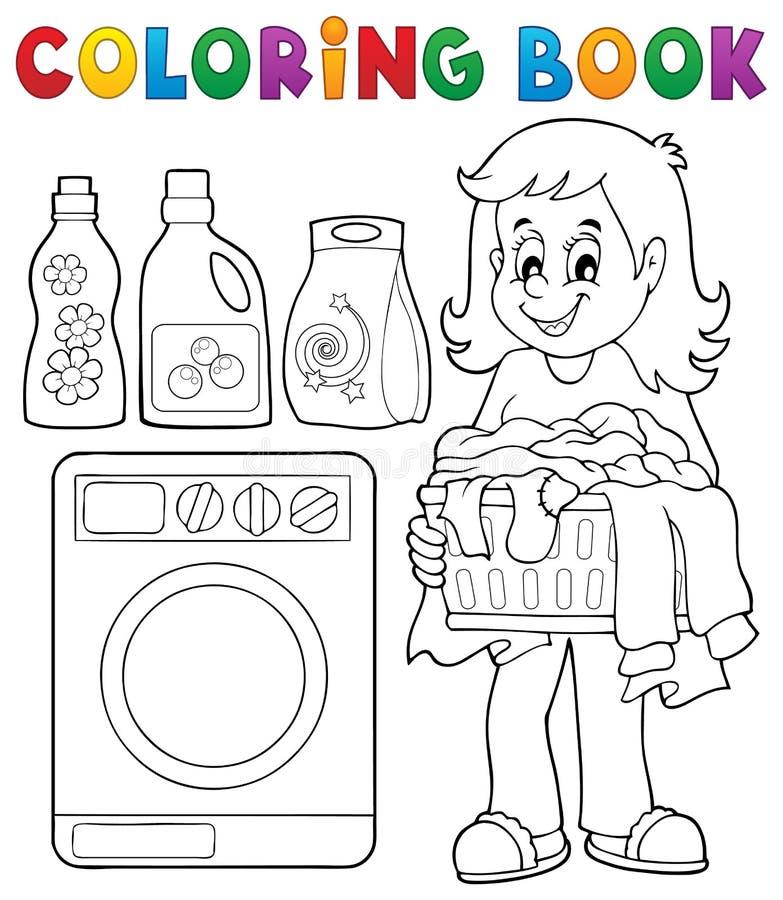 Thème 1 de blanchisserie de livre de coloriage illustration libre de droits