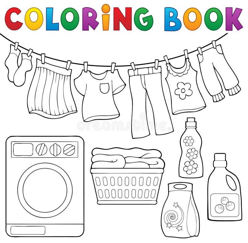 Thème 2 de blanchisserie de livre de coloriage illustration libre de droits