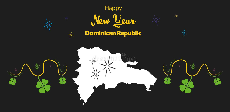 Thème de bonne année avec la carte de la République Dominicaine  illustration libre de droits