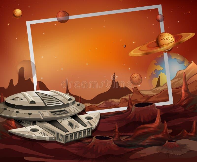 Thème de cadre de vaisseau spatial et d'outerspace illustration libre de droits