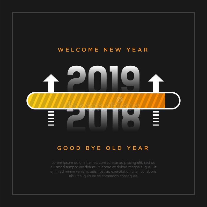 Thème de carte de la bonne année 2019 bouton jaune de temps de chargement avec la flèche sur le fond noir illustration stock