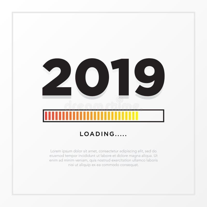 Thème de carte de la bonne année 2019 bouton jaune de temps de chargement sur le fond blanc de gradient illustration libre de droits