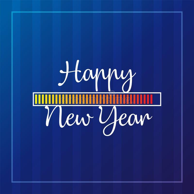 Thème de carte de la bonne année 2019 bouton jaune de temps de chargement sur le fond bleu de bande illustration stock
