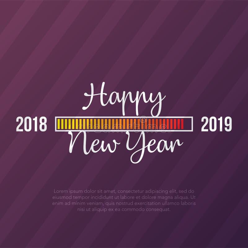 Thème de carte de la bonne année 2019 bouton jaune de temps de chargement sur le fond magenta diagonal de bande illustration libre de droits