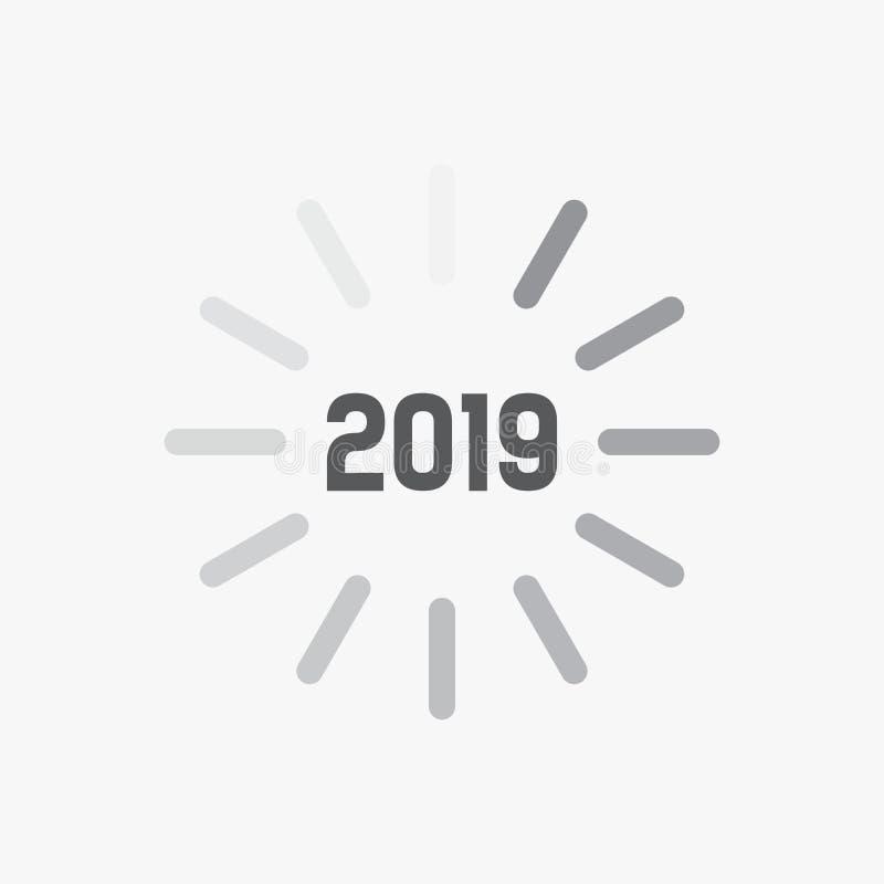 Thème de carte de la bonne année 2019 Icône de signe de temps de chargement pour le compte à rebours Vecteur ENV illustration stock