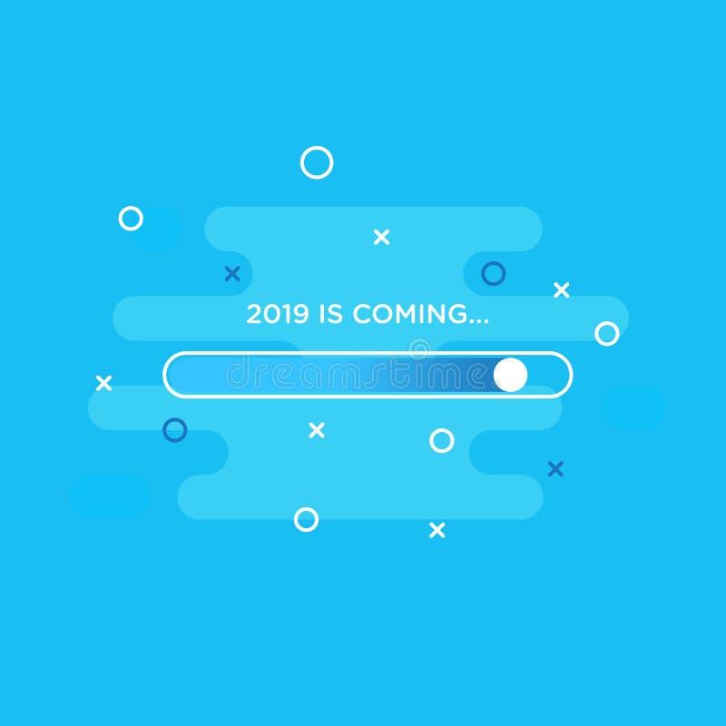 Thème de carte de la bonne année 2019 le bouton de chargement se connectent le fond liquide abstrait bleu illustration stock
