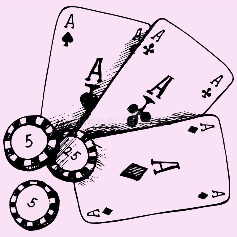 Thème de casino jouant des cartes de tisonnier de puces illustration stock