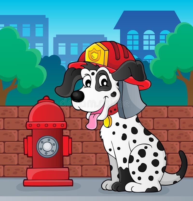 Thème 2 de chien de sapeur-pompier illustration de vecteur