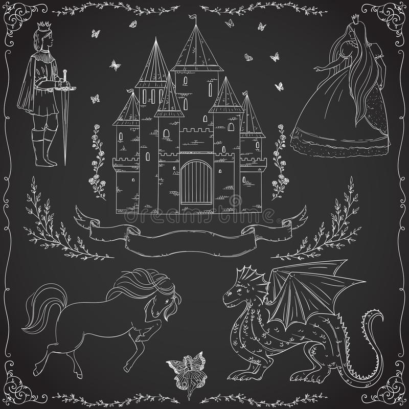 Thème de conte de fées Prince, princesse, château, dragon, fée, cheval illustration libre de droits