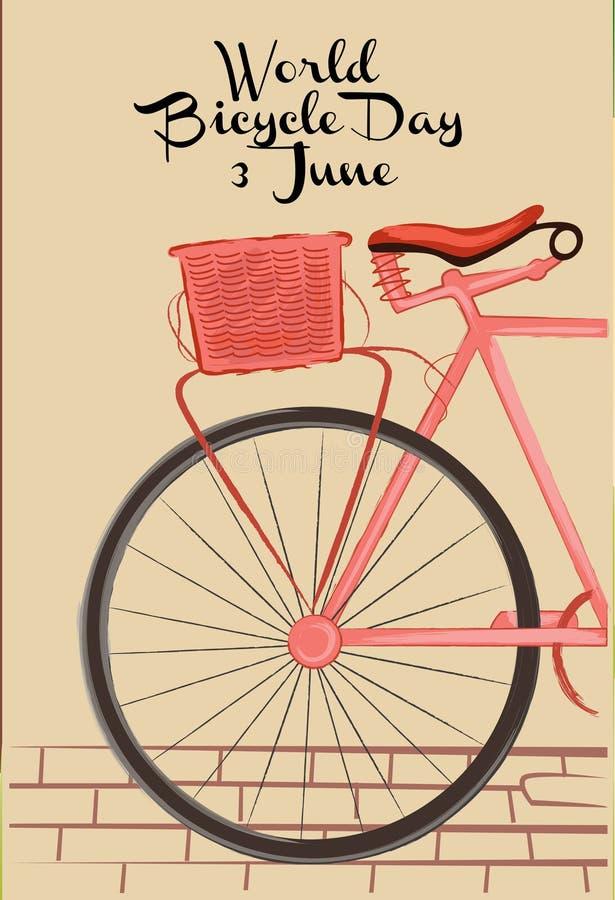 Thème de cru des dessins et de l'illustration de jour de bicyclette du monde illustration libre de droits
