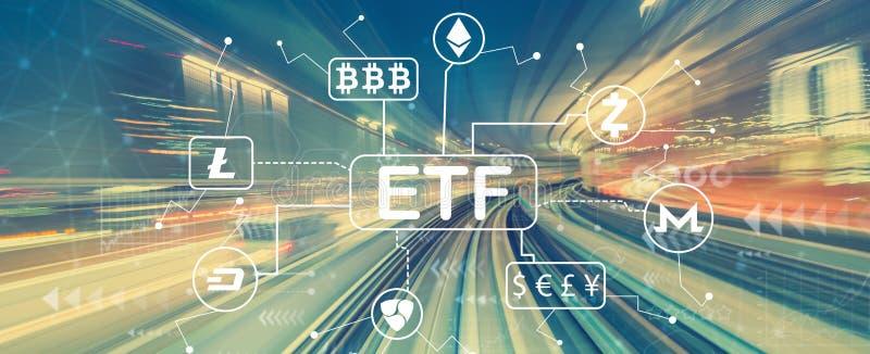 Thème de Cryptocurrency ETF avec la tache floue de mouvement à grande vitesse images libres de droits