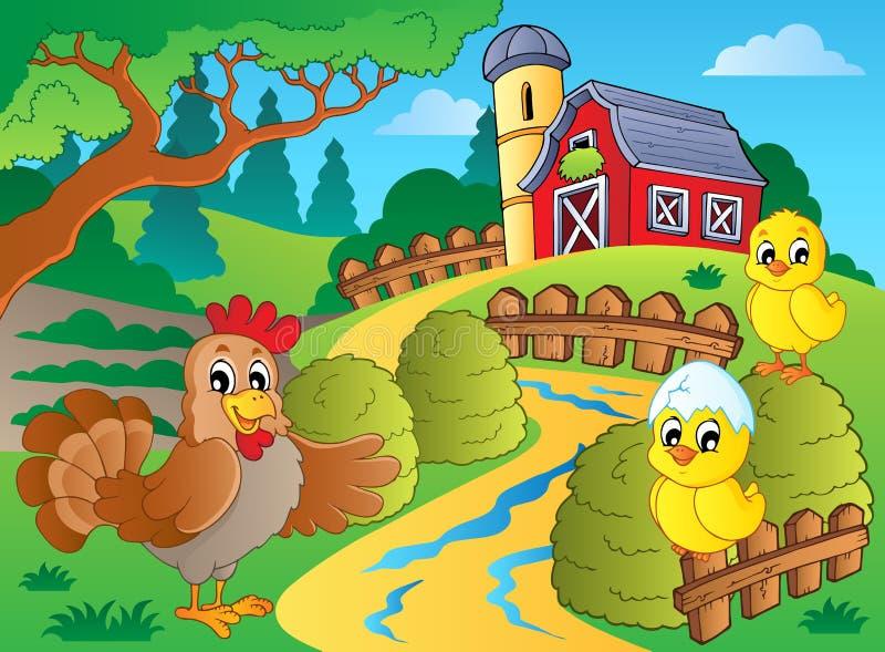 Thème de ferme avec la poule et les poulets illustration de vecteur