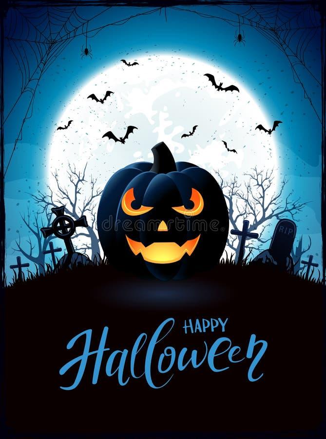 Thème de Halloween avec la lanterne de Jack O sur le cimetière illustration stock