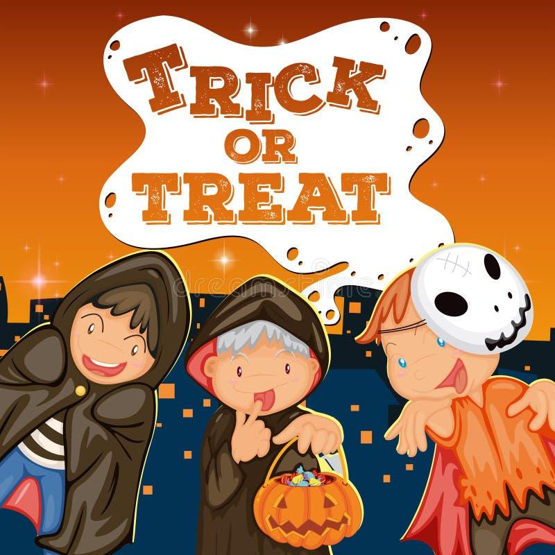 Thème de Halloween avec le des bonbons ou un sort d'enfants illustration libre de droits
