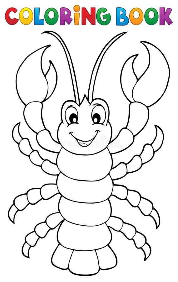 Thème 1 de homard de bande dessinée de livre de coloriage illustration de vecteur