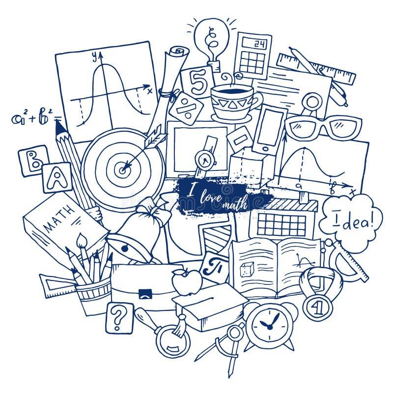 Thème de la science de mathématiques Modèle tiré par la main au sujet d'école et étude dans le style de griffonnage Contexte de m illustration libre de droits