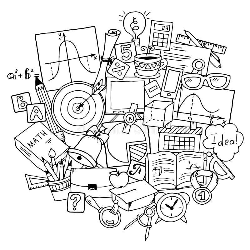 Thème de la science de mathématiques Modèle tiré par la main au sujet d'école et étude dans le style de griffonnage Fond du jour  illustration libre de droits