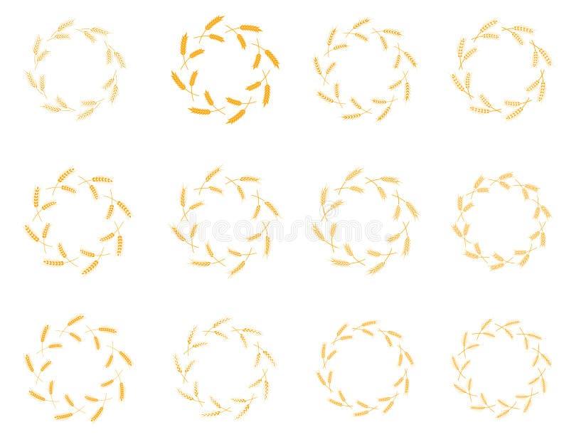 Thème de Laurel Wreath Flora de vecteur sur un ensemble blanc de fond illustration stock