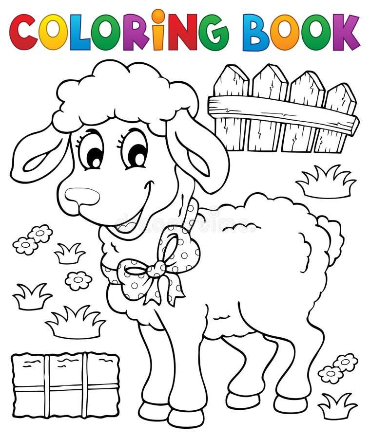 Thème 3 de moutons de livre de coloriage illustration de vecteur