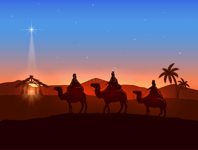 Thème de Noël avec trois sages et étoile brillante illustration stock
