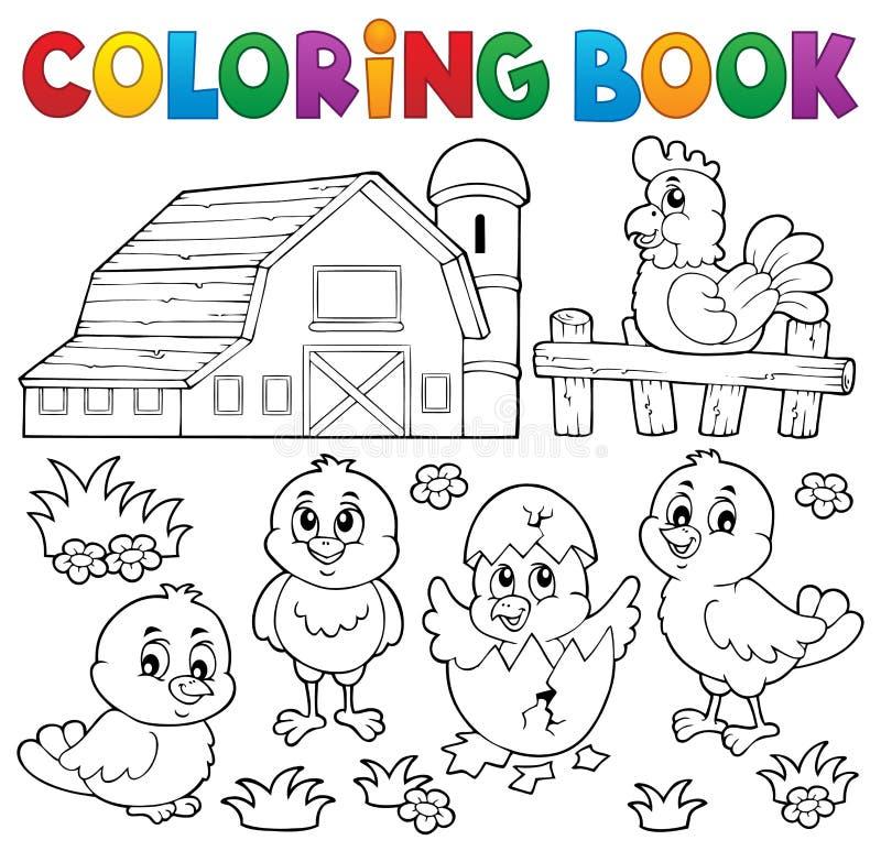 Thème 2 de poulets et de poule de livre de coloriage illustration libre de droits