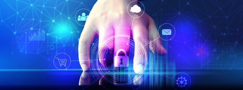 Thème de sécurité de Cyber avec la tablette photographie stock