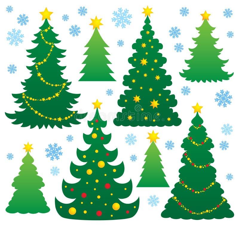 Thème 9 de silhouette d'arbre de Noël illustration de vecteur