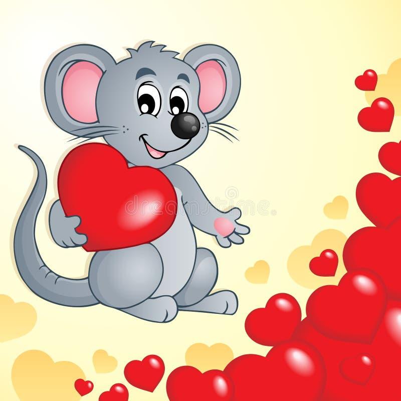 Thème de Valentine avec la souris et les coeurs illustration stock