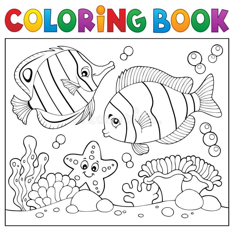 Thème 4 de vie marine de livre de coloriage illustration libre de droits