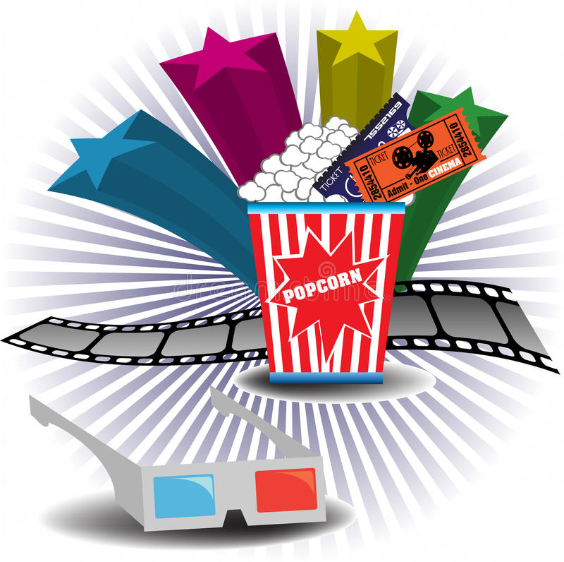 thème du cinéma 3D illustration de vecteur