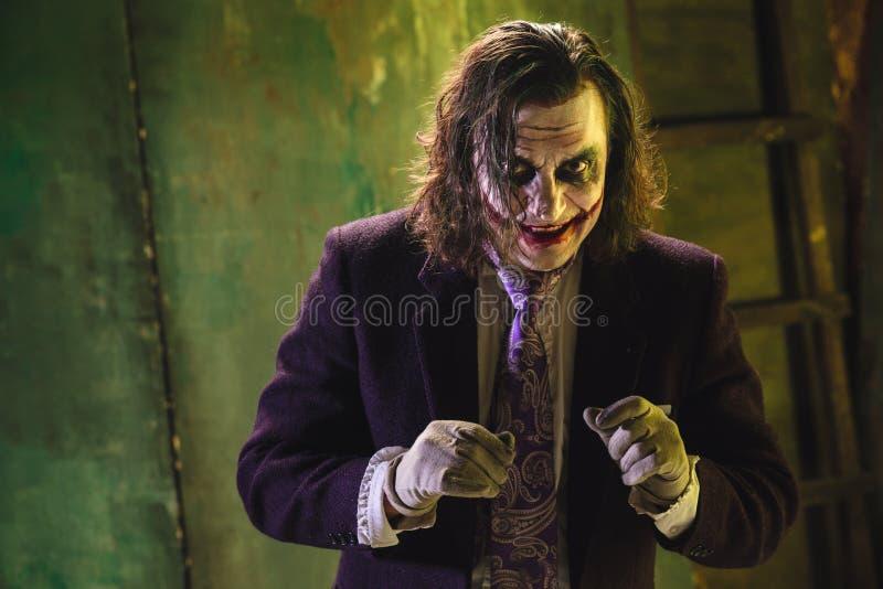 Thème ensanglanté de Halloween : visage fou de maniak images stock