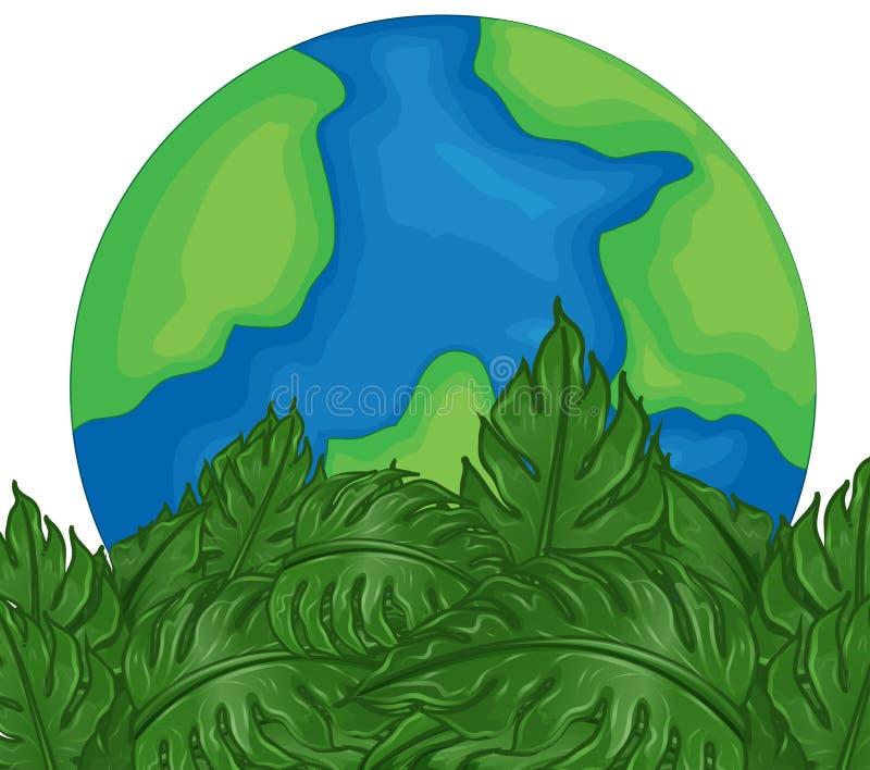Thème environnemental avec des feuilles de la terre et de vert illustration de vecteur