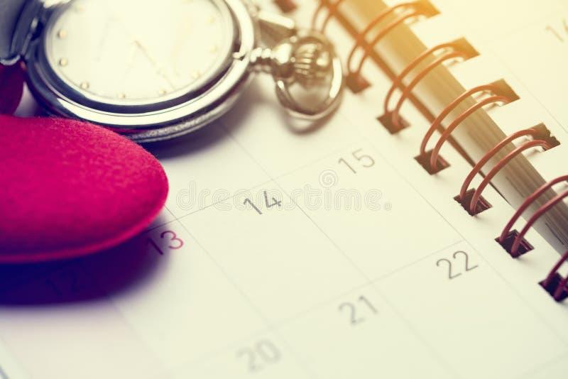 Thème et concept de jour de valentines avec le calendrier photos libres de droits