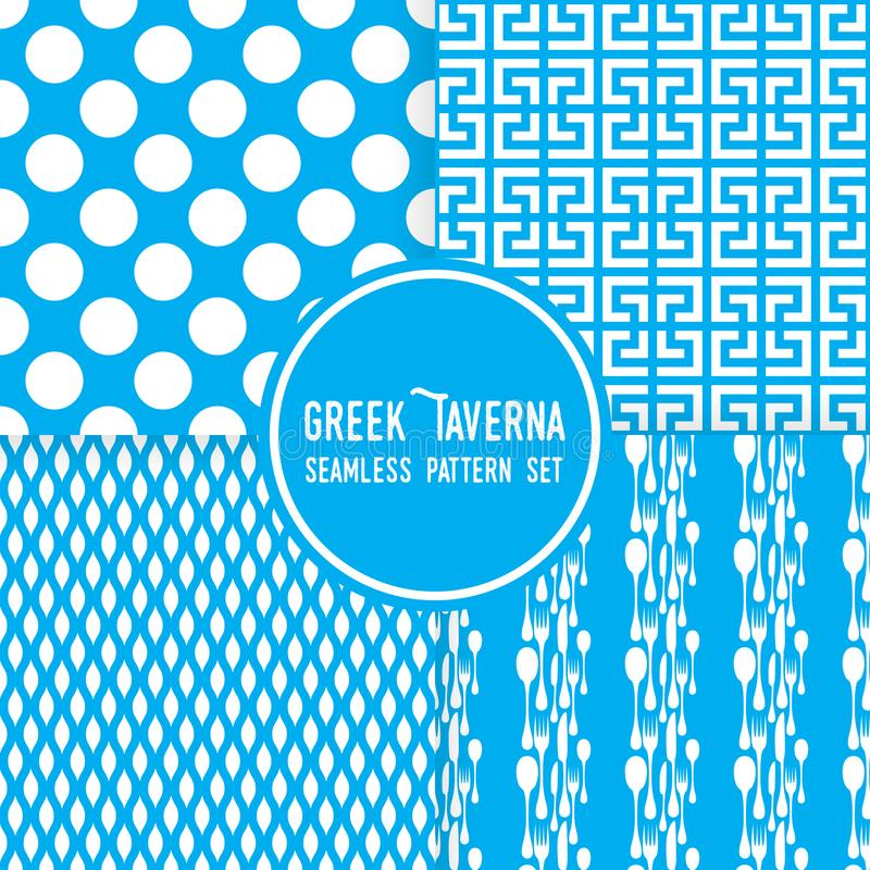 Thème grec bleu de taverne Ornements, points et formes de couverts Ensemble sans couture de fond de modèle de vecteur illustration de vecteur