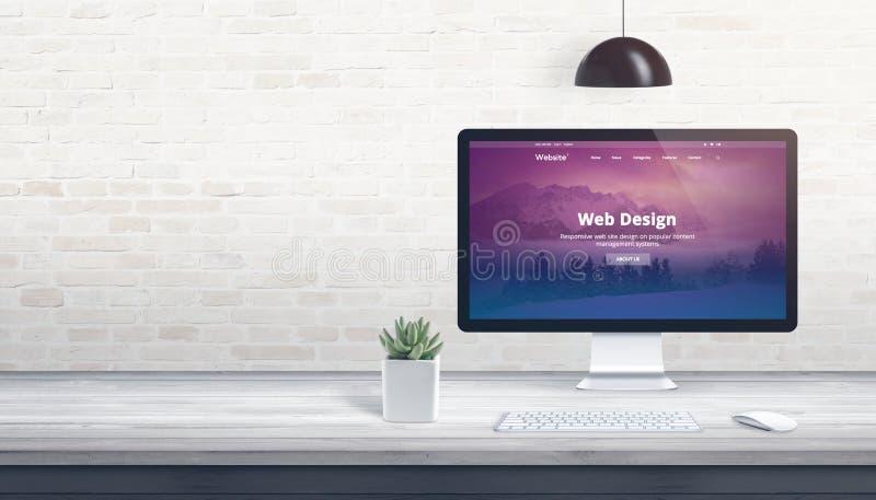 Thème moderne de Web sur l'affichage d'ordinateur images libres de droits