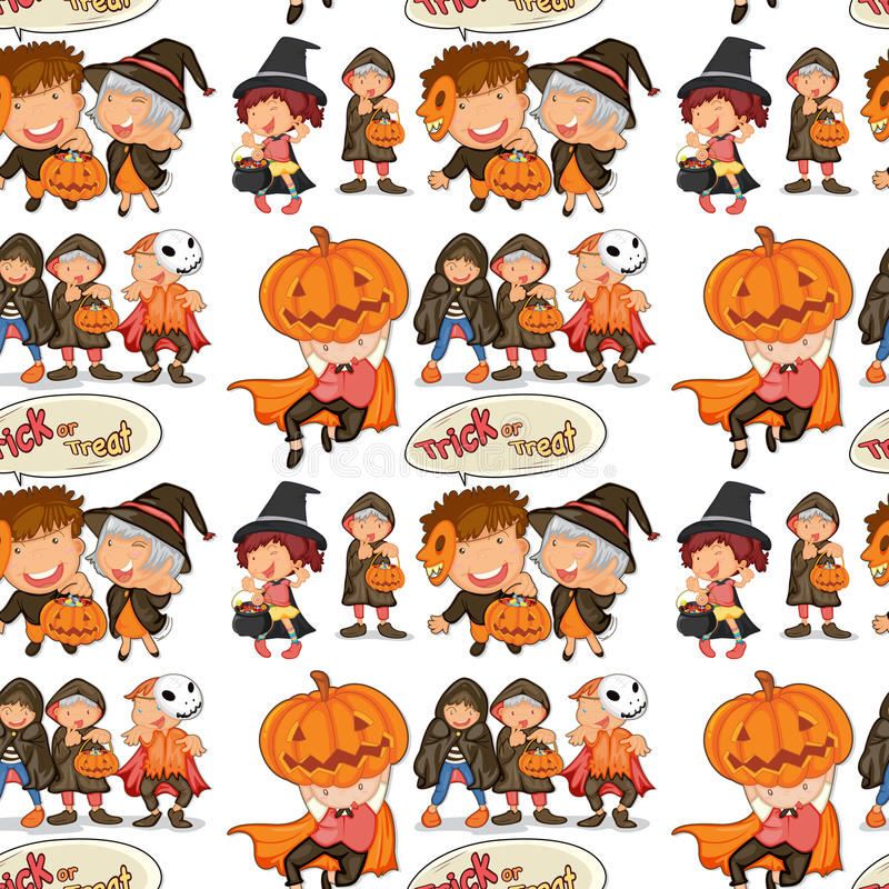 Thème sans couture de Halloween avec des enfants dans le costume illustration de vecteur