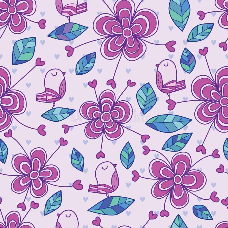 Thème sans couture de pourpre de modèle de décor d'amour de fleur d'oiseau illustration stock